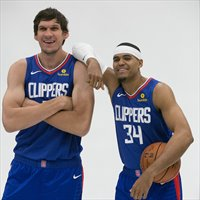 Marjanovic y Tobias Harris posan en el Media Day